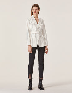 MARYLING Pinstripe Pattern Lapel Belted Slim Fit Blazer