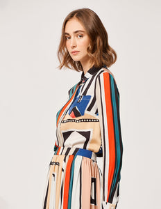 MARYLING Silk Ndebele Style Pattern Lapel Long Sleeve Shirt