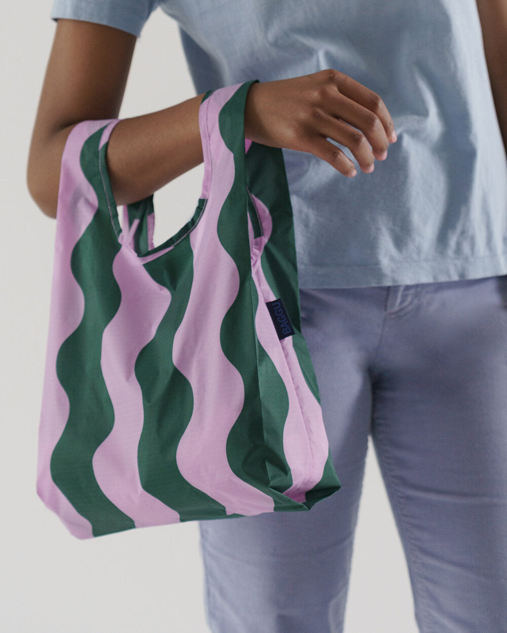 Baggu in Pink and Green Wavy Stripe