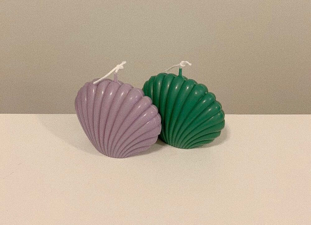 Evie Mine Clam Shell Candle in Jade Green