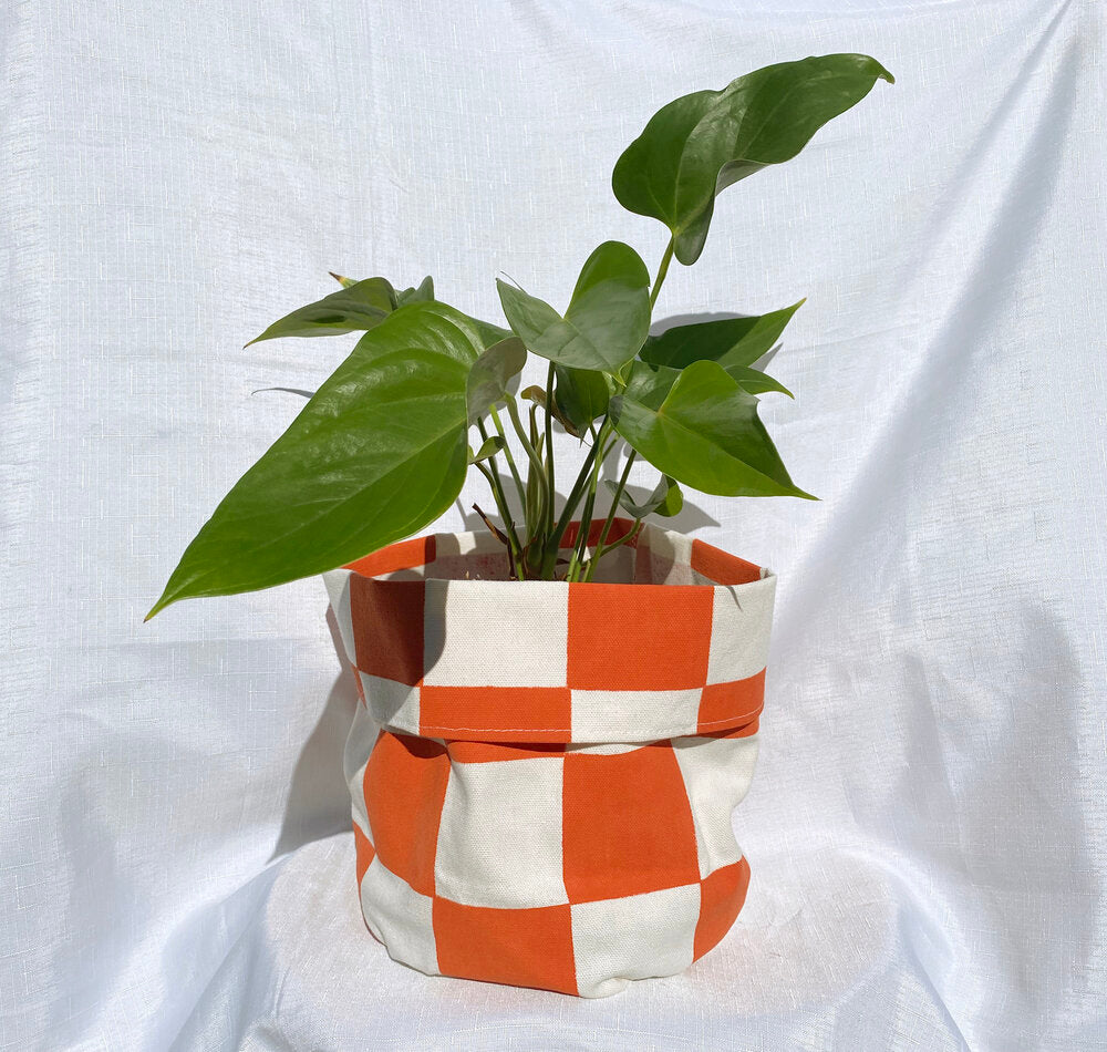 Checkered Canvas Planter - Red