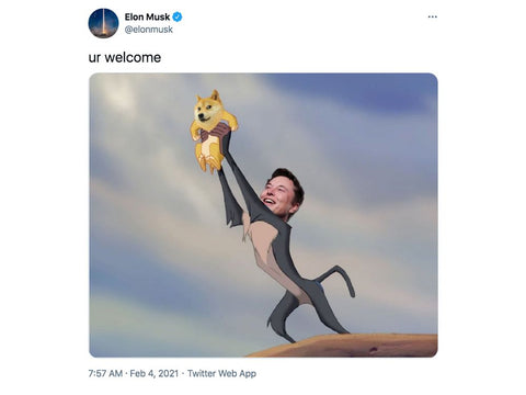 Elon Musk tweets dogecoin meme which sends the cryptocurrency soaring to the moon