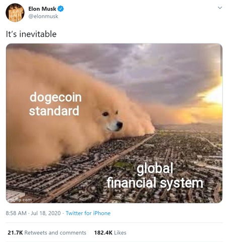 Elon Musks tweets supporting dogecoin by posting Dogecoin memes