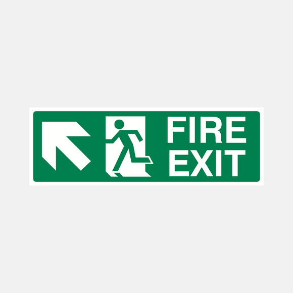 Fire Exit Up Left Sign Raymac Signs