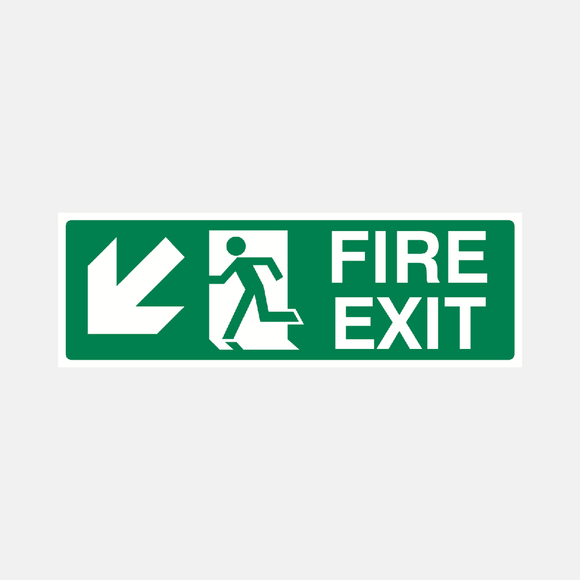 Fire Exit Down Left Sign Raymac Signs