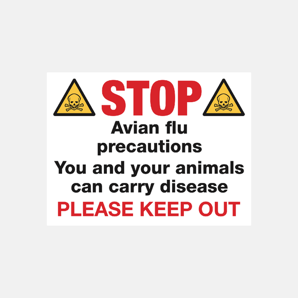 Stop Avian Flu Precautions Sign Raymac Signs