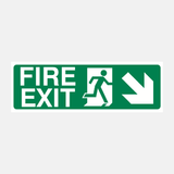 Fire Exit Down Right Sign Raymac Signs