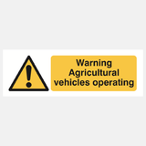 Warning Agricultural Vehicles Operating Sign Raymac Signs