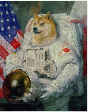 Doge US Astronaut Dogecoin Cryptocurrency Bitcoin Vintage Decorative Kraft Poster Canvas Painting Wall Sticker Home Decor Gift