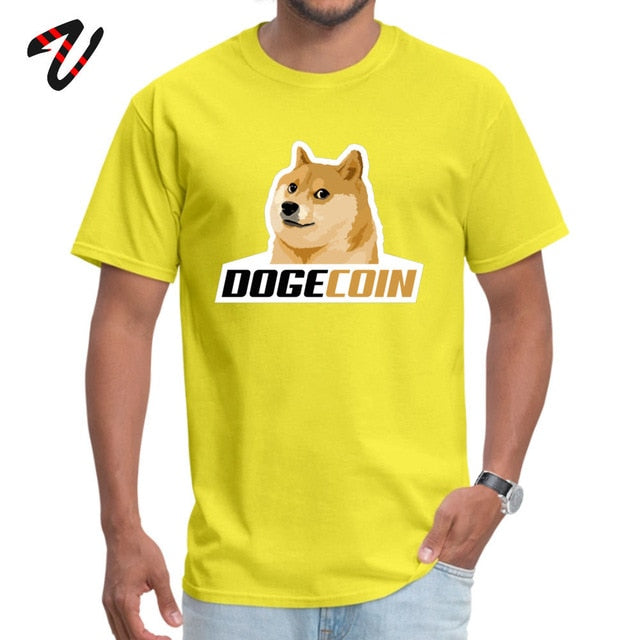 Dogecoin Nerd Tops Shirt for Men Summer Tshirts Casual Fashionable Round Neck Tops Shirt Hard Rock Sleeve Free Shipping