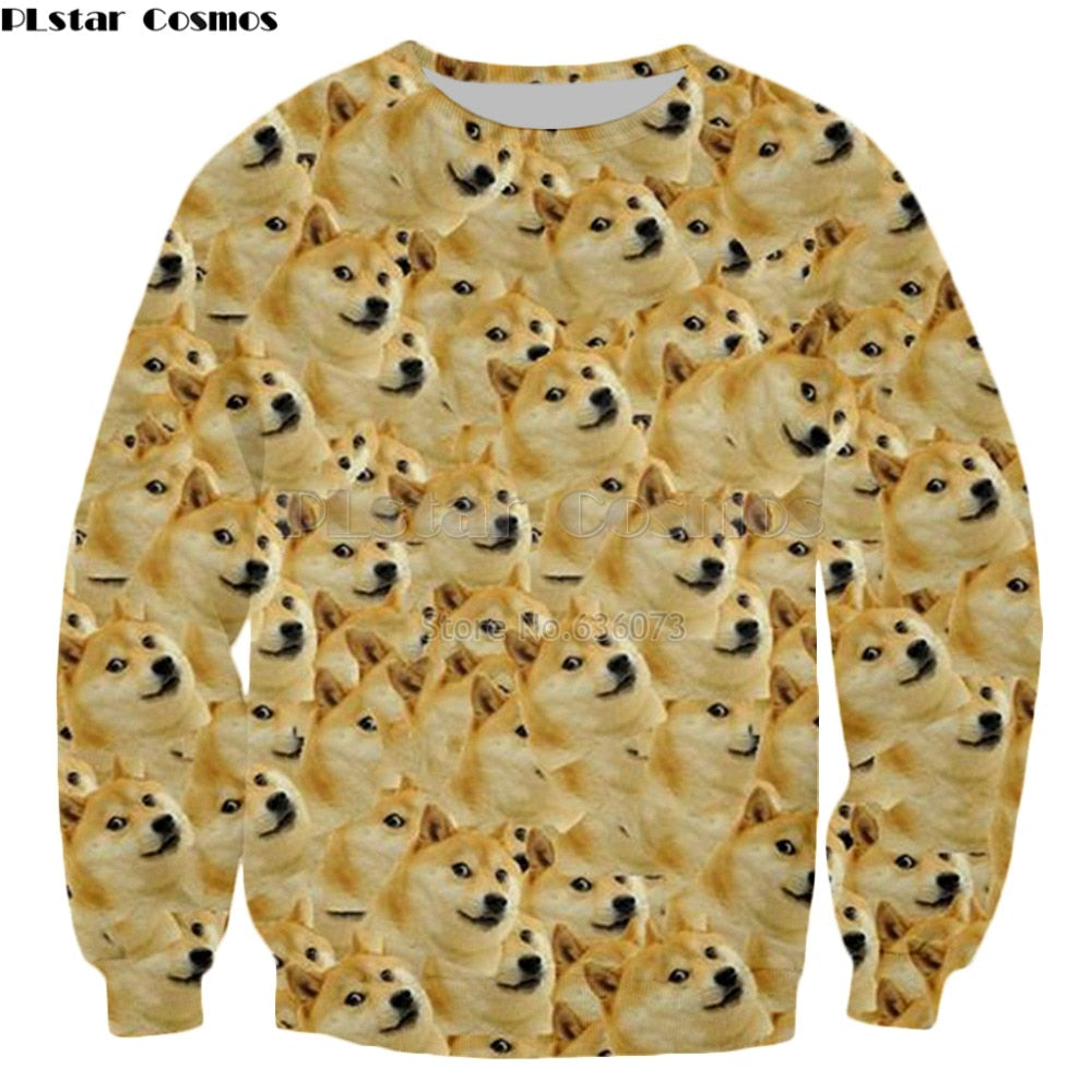 PLstar Cosmos 2018 new style Fashion Head doge Sweatshirt Men Women Hoodie animal God dog/shiba inu Print 3d Casual pullovers