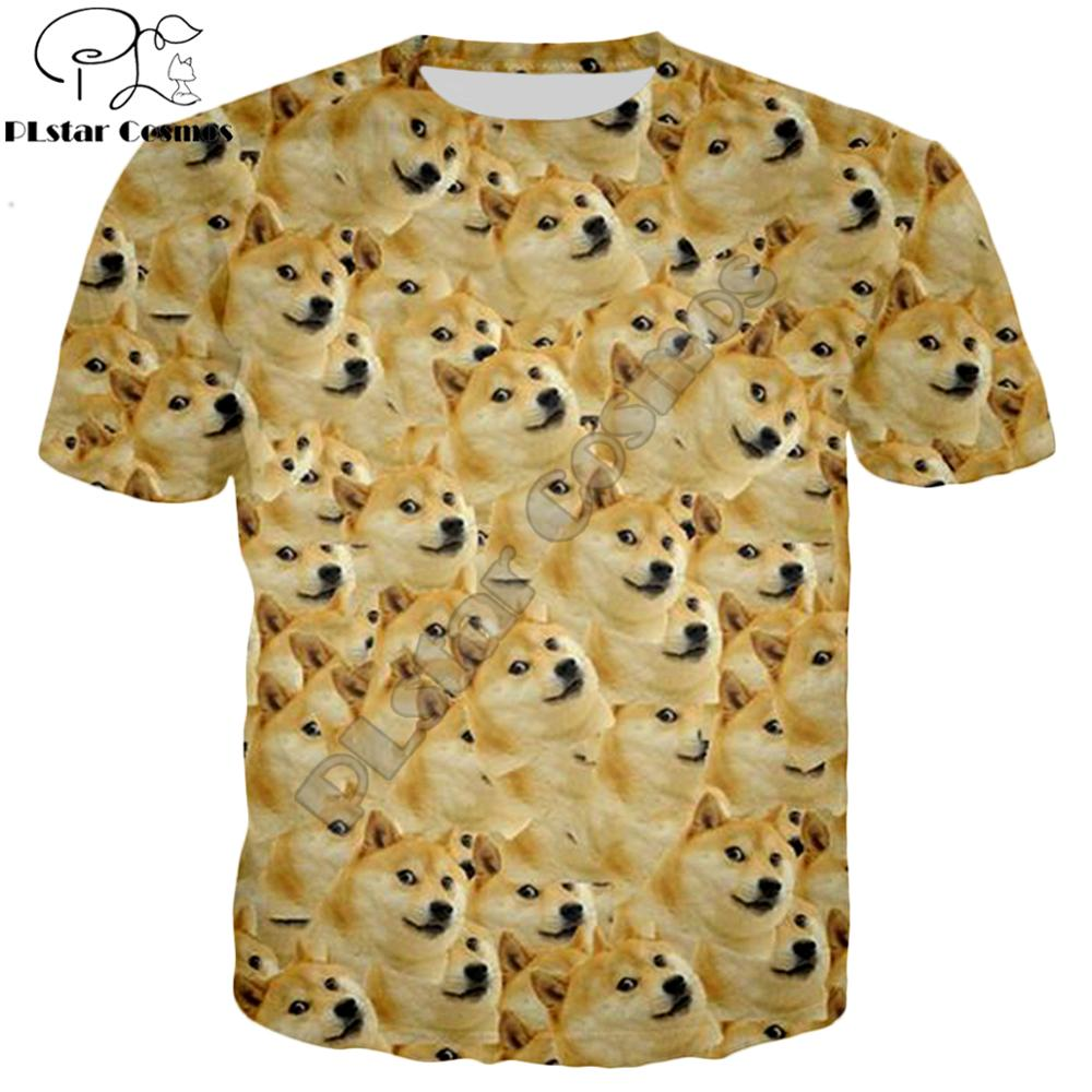 PLstar Cosmos Summer Fashion Men t-shirt Funny Head doge 3d t shirt God dog/shiba inu print Men Women Casual TShirt - Hoodies