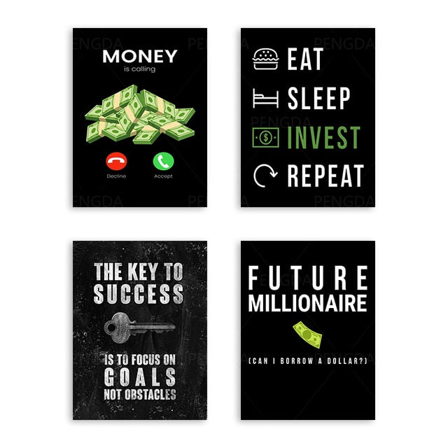 Paper Money Key Food Invest Canvas Paintings Home Decor Modular Pictures Modern Printed Poster For Living Room Wall Art No Frame
