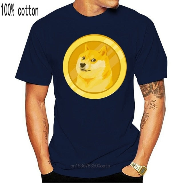 Custom Dogecoin Heartbeat Line Blockchain Cryptocurrency T Shirt Women Black Fitted Men Tshirt Plus Size S-5xl Clothing Tee Tops