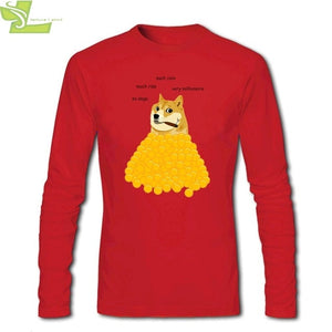 Men T-shirts Long Sleeve O-neck Cotton Dogecoin Doge 2020 Fashion T Shirt Mens Funny Tee Shirts For adolescent