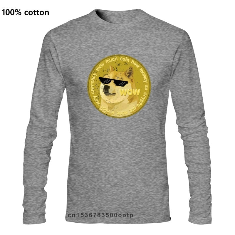 Printed Men T Shirt Cotton Long sleeve New Style Funny Dogecoin Doge Meme T-Shirt- Funny Women T-Shirt