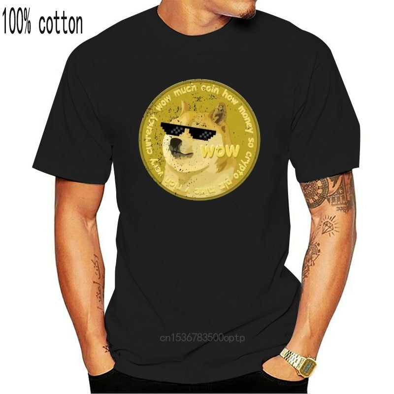 Printed Men T Shirt Cotton Short-Sleeve New Style Funny Dogecoin Doge Meme T-Shirt- Funny Women T-Shirt