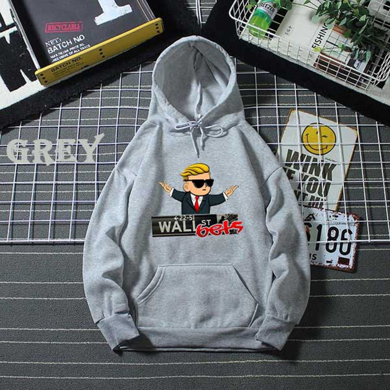 Fashion Men Women Wall Street Bets Letter Printed Hoodies WSB Unisex Hooded Sweatshirts GME Pullovers Hoodie Plus Size 5 Colors