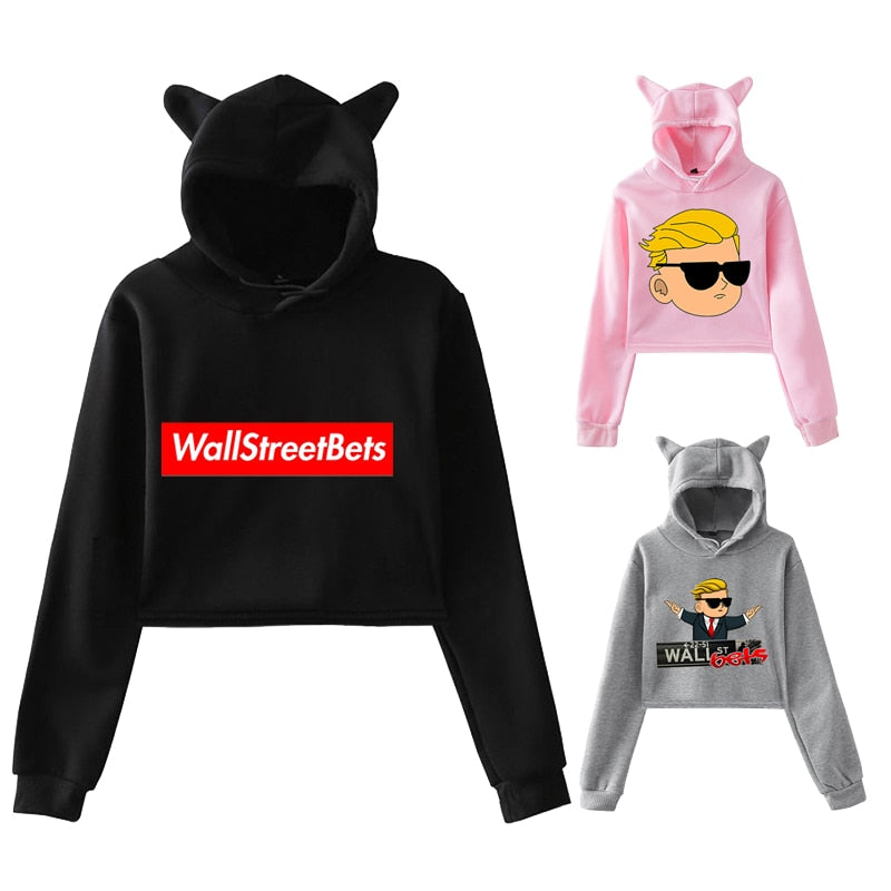 3D WallStreetBets Hoodie Women Hip Hop Cat Crop Top Sweatshirt Trend Streetwear Girls Fashion Nightclub Sexy Gamestop Clothing