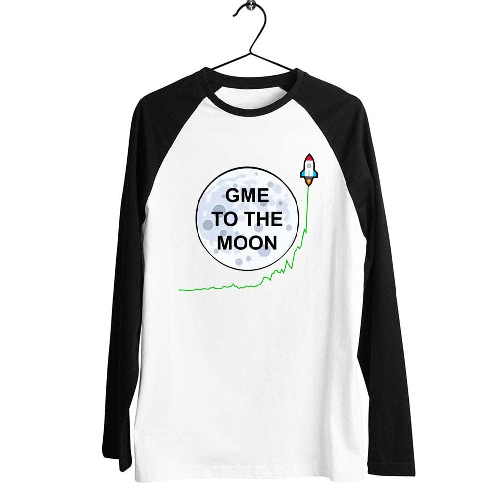 Black Trim Baseball Long Sleeve Unisex T Shirt Gamestonk Gamestop Gme To The Moon Printed Tee