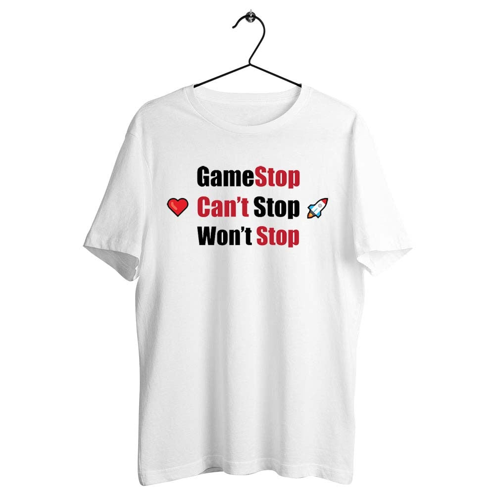 Unisex Men Women T Shirt Gamestonk Gamer Unite Gamestop Can't Stop Gme To The Moon Artwork Printed Tee