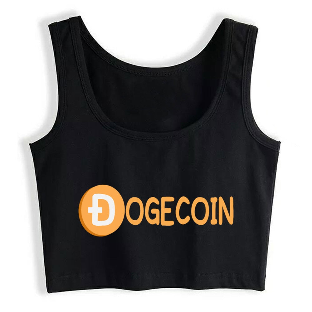 Crop Top Female Funny Cute Dogecoin Currency Gift For Her Fashion Vintage Custom Tops Women