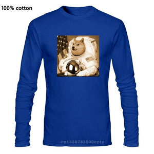 Dogecoin Moon Astronaut Crypto-currency Meme Money  New Fashion Men T-shirt Men Casual Long sleeve T-Shirts  100% Cotton