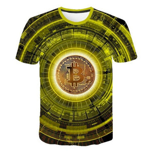 2020 exploding foreign trade men's bitcoin (Bitcoin) 3D printed short-sleeved summer men's T-shirt