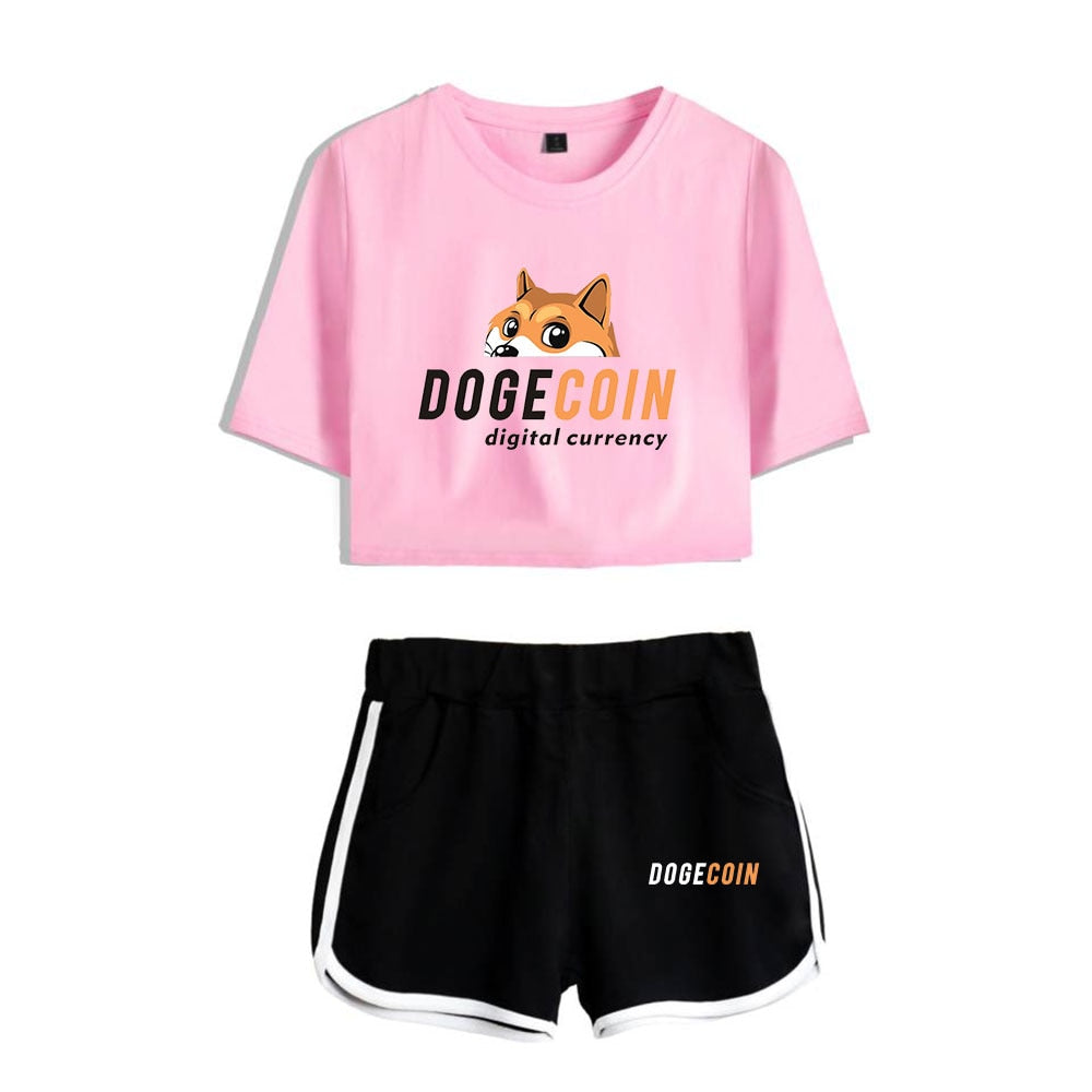 WAWNI Dogecoin Two Pieces Set Short Sleeved T-Shirt Sexy Kawaii Girl Cotton Casual Anime Print La mode des femmes XS-2XL