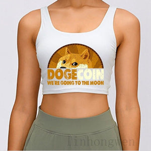 Dogecoin We Re Going To The Moon Tank Top Fit Crop Top Custom Letters Sexy Summer Style New Style S-XXL Vest