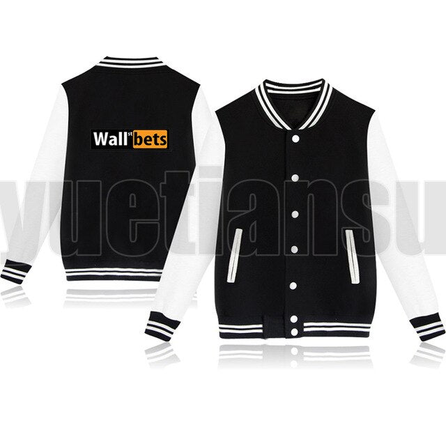 Fashion Pink Gamestop Baseball Streetwear Casual Wall Street Bets Jacket Veste Long Sleeve Coat Streetwear Polyester Clothes