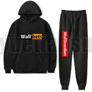 2Pcs/set WallStreetBets Unisex Hoodie Tracksuit Men Akatsuki Hoodies+Sweatpants Gamestop Hoodies Women WSB Pullovers Sweatshirts