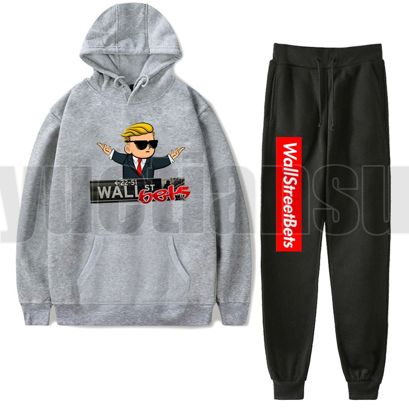 2Pcs/set Gamestop Sudadera Hombre Hip Hop WallStreetBets Hoodies Adult Sweatshirts Cloth Harajuku Teenager oversize Hoodie Women
