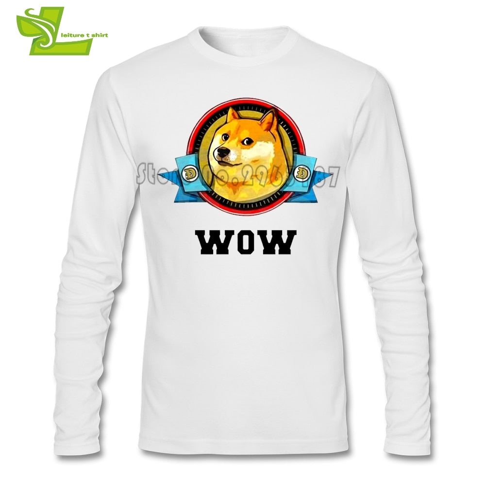 DOGECOIN NETWORK T Shirt Male New Unique Tee Shirt Popular Classic Loose T-Shirt Man Long Sleeve O Neck Personalized Dad Clothes