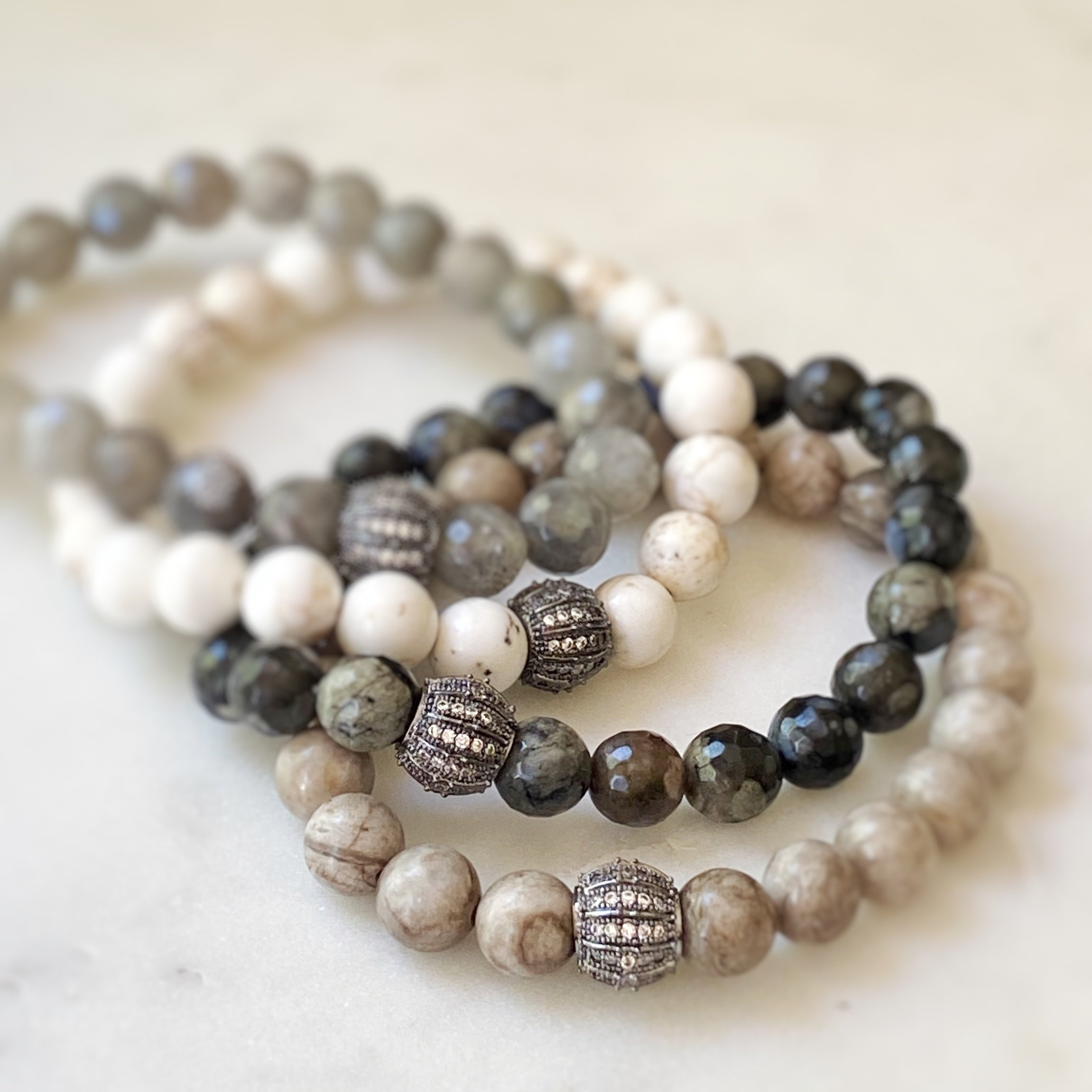 Gemstone Stretch Bracelet, Black Agate