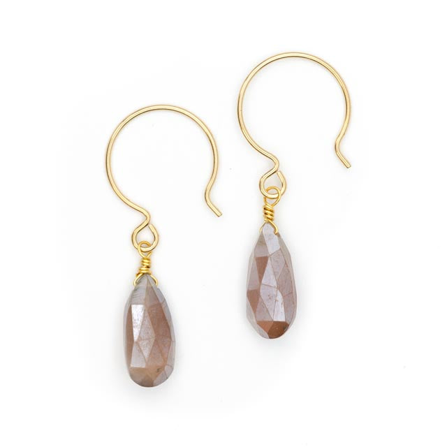 SoNa Earrings, Chocolate Moonstone