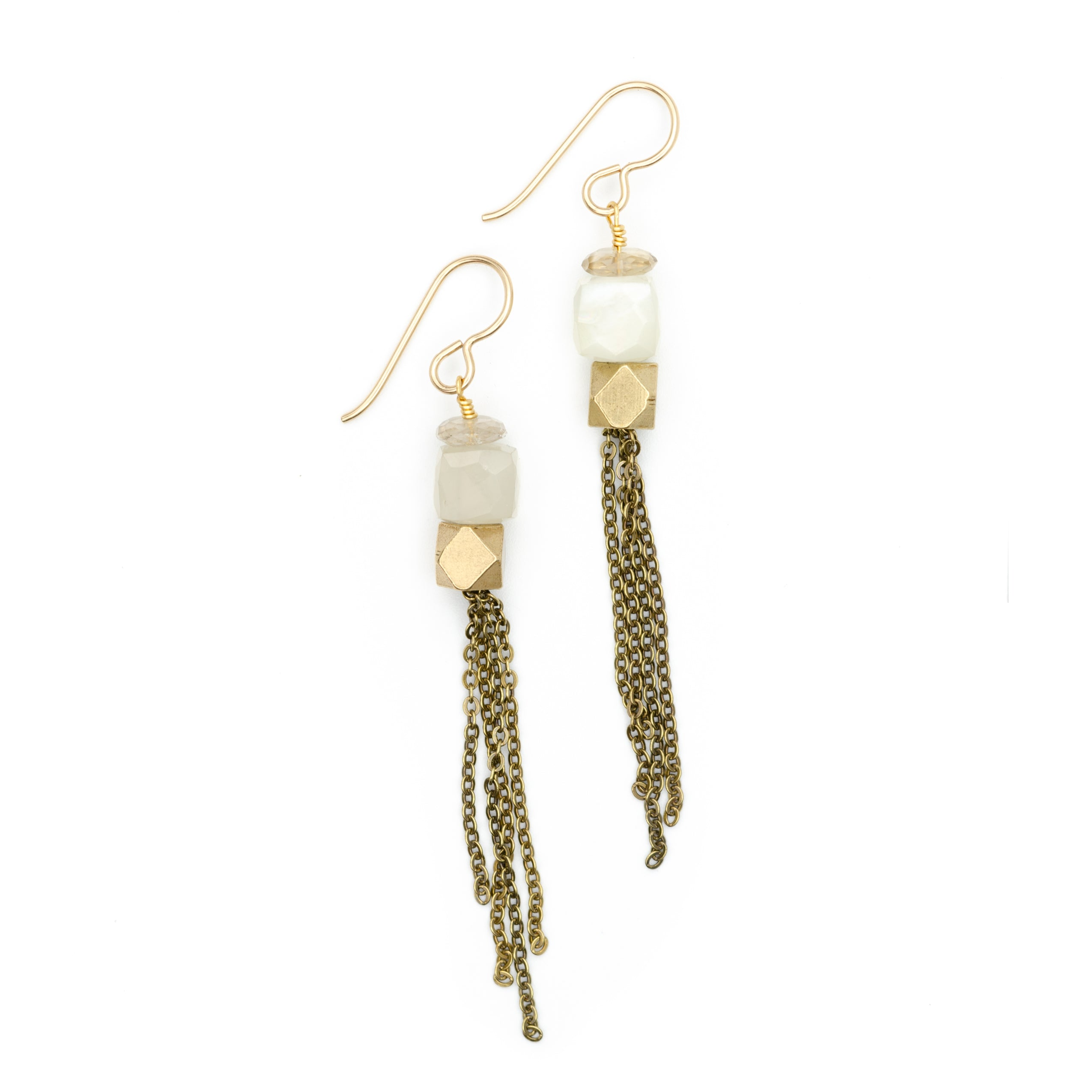 Cubist Tassel Earrings, Moonstone & Quartz