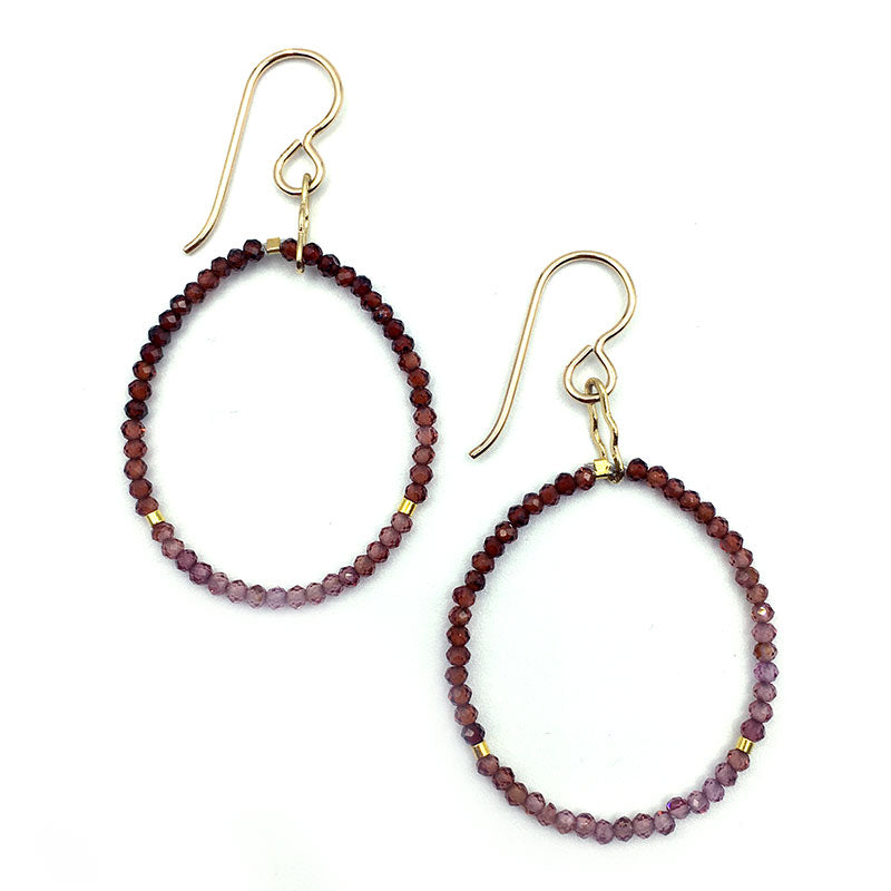 Elegance Hoop Earrings Garnet