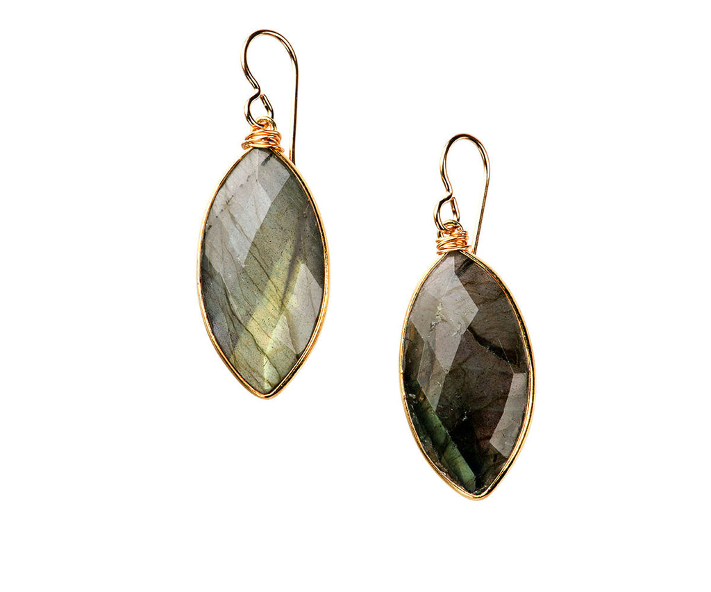 Helena Grande Marquis Earrings Labradorite