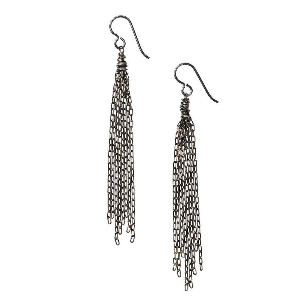 North Beach Tassel Earrings, Black