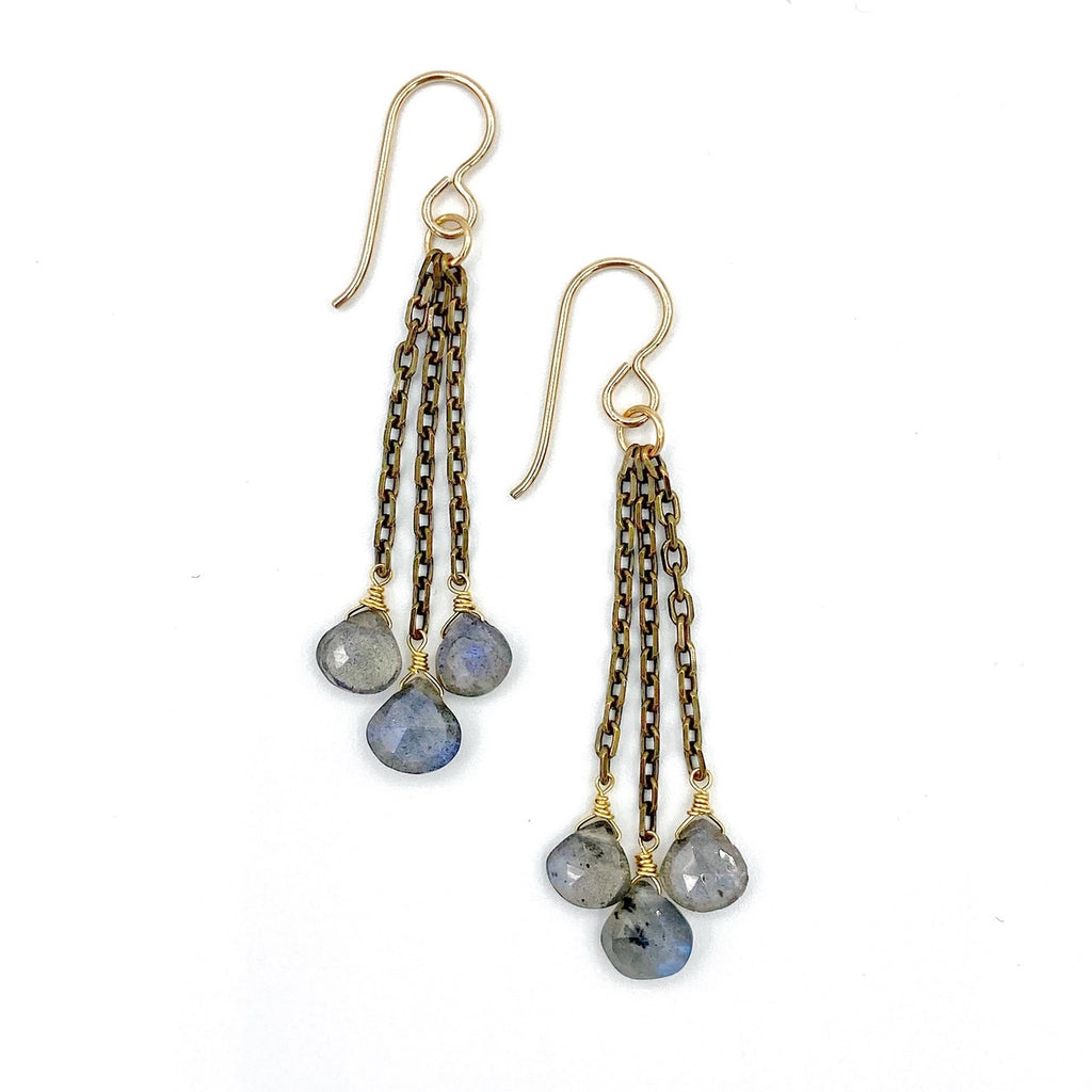 Opus Three Earrings, Labradorite