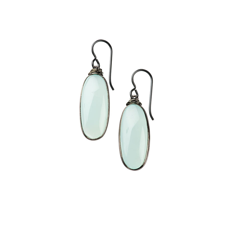 Helena Oval Earrings Chalcedony