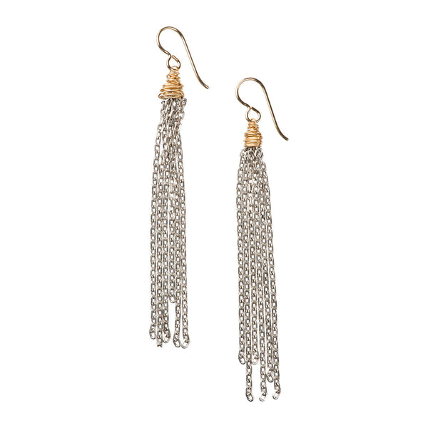 North Beach Tassel Earrings, Silver