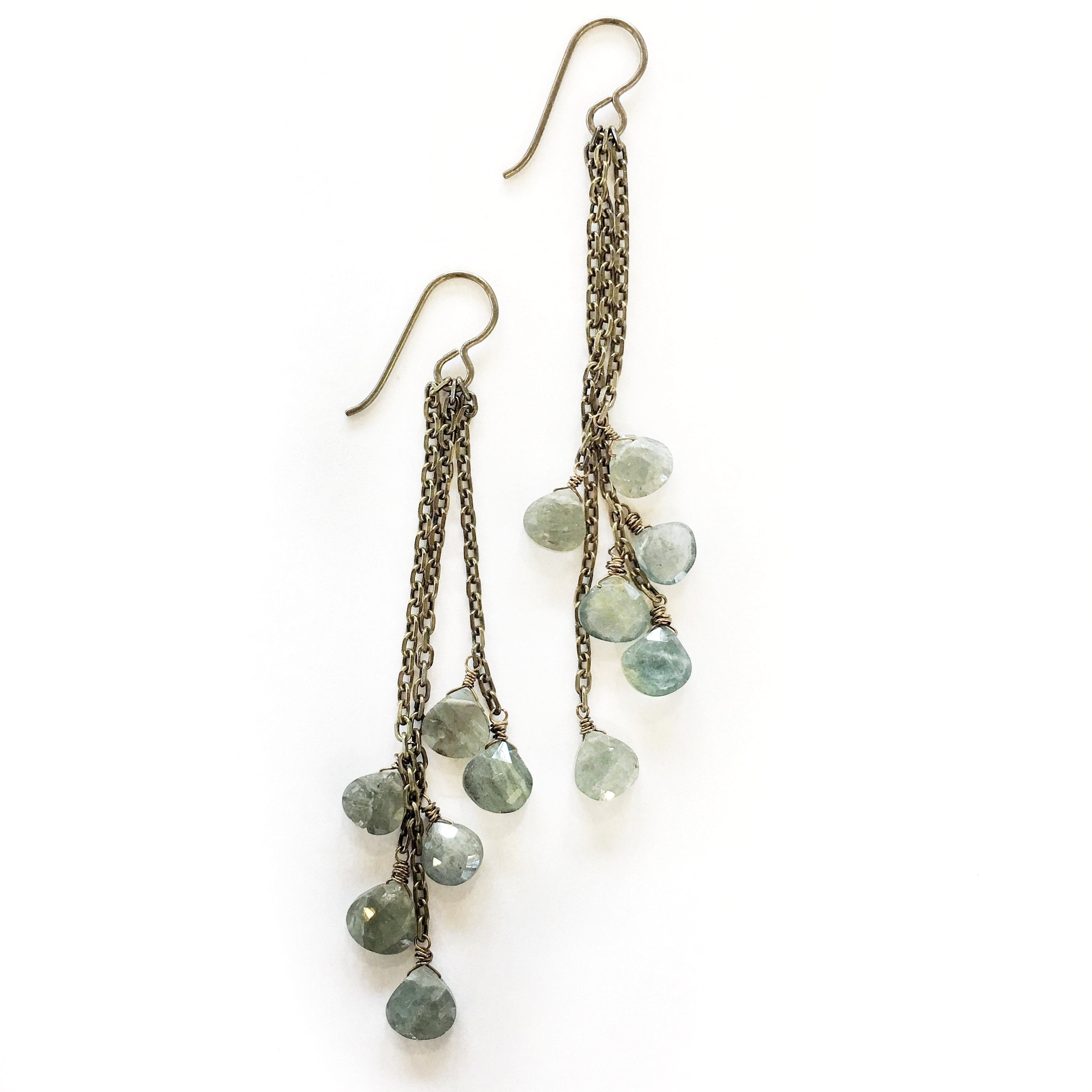 The Grade Tassel Earrings Moss Aquamarine