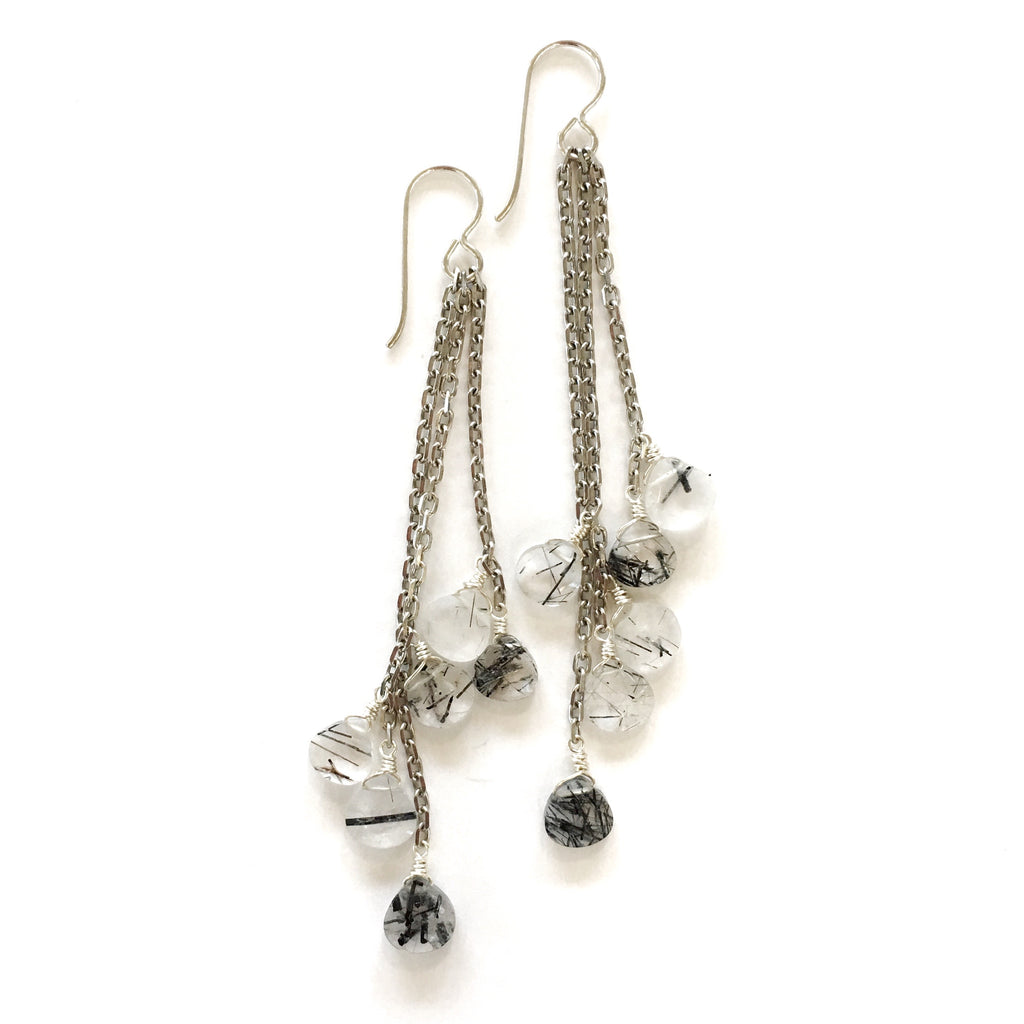 The Grade Tassel Earrings Black Rutile Quartz