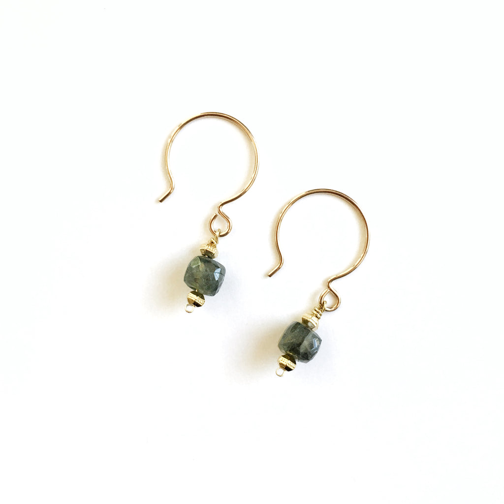 Cube Drop Earrings, Moss Aquamarine