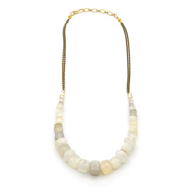 "Glos Lane Necklace 16"" Blush Moonstone"