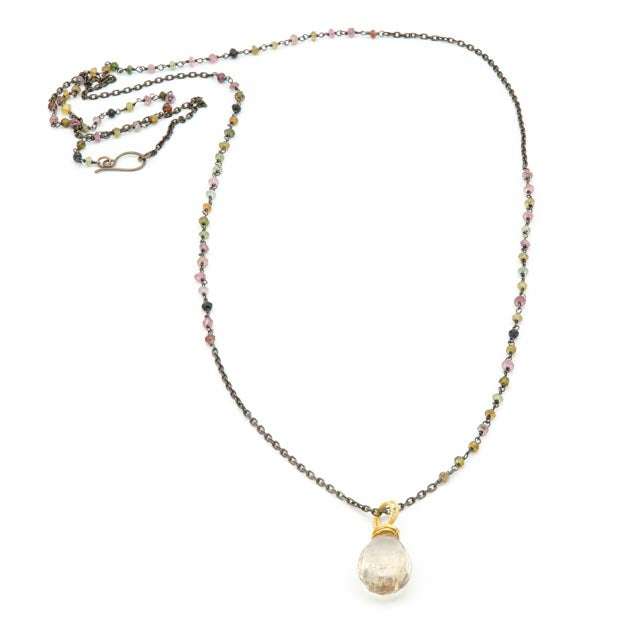 Trellis Pendant Necklace, Crystal Quartz & Tourmaline