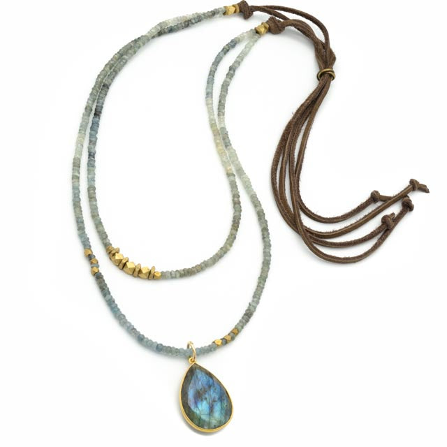 Bella Oaks Necklace, Aquamarine with Labradorite