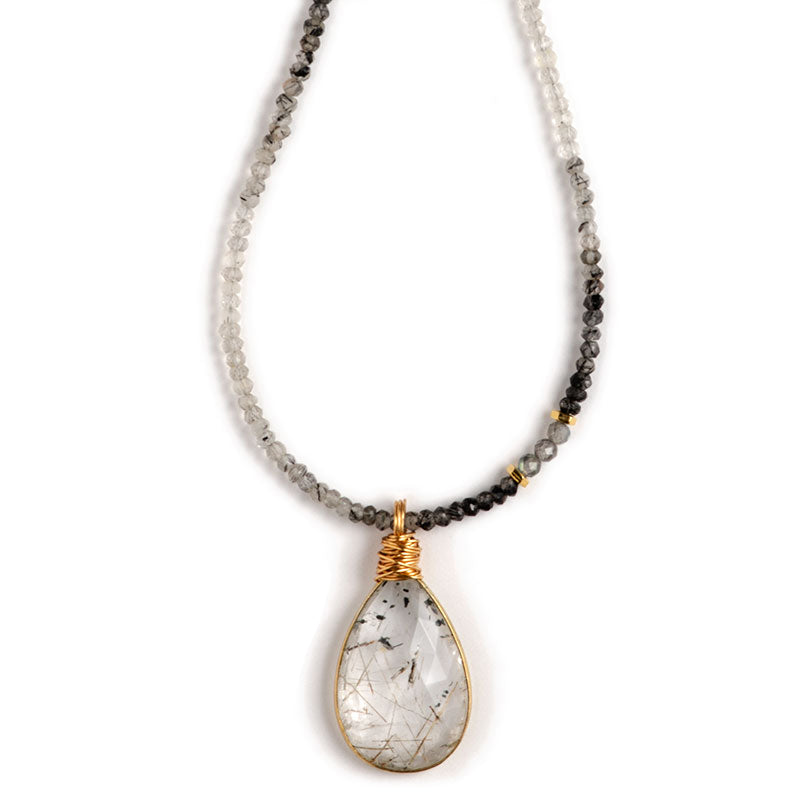 Marin Pendant Necklace, Rutile Quartz